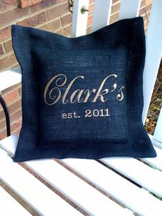 Embroidered Burlap Pillow for address family by YouandMEembroidery