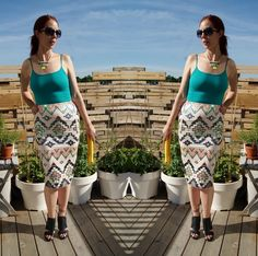 Such a sexy + chic look featuring aztec details! Skirt from @expresslife, @shopforjayu necklace, +@forever21 booties!: http://www.thepurplescarf.ca/2014/07/fashion-style-aztec-embellishment-from-express.html #fashion #style #styletips #thepurplescarf #melanieps