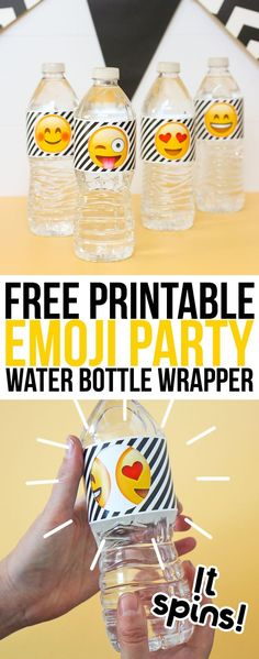Emoji Party Water Bottle Labels – The Craft Patch Free printable emoji party water bottle labels that spin to reveal different emoji faces. How cute would these be for your next emoji themed party? Party Emoji, Girls Party, Kids Party Themes, Ideas Party, Party Fun, Free Emoji Printables, Party Printables, 10th Birthday Parties, Birthday Party Themes