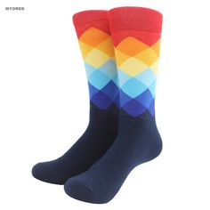 Socks  Male Tide Brand Happy Socks Gradient Color Paragraph summer Style Pure Cotton Stockings Men's Knee High Business Socks sox -- Click the image for detailed description