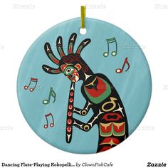 Dancing Flute-Playing Kokopelli Figure Double-Sided Ceramic Round Christmas Ornament - Both sides of this decorative ornament show Kokopelli painted in the style of Pacific Northwest art, playing his flute against a rainy blue background. http://www.zazzle.com/dancing_flute_playing_kokopelli_figure_double_sided_ceramic_round_christmas_ornament-175606067608899814?rf=238083504576446517&tc=pint