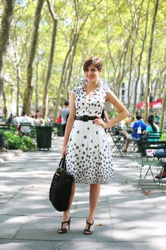 modcloth:  Polka dots add playfulness to a work day ensemble. Source: thesartorialist.com