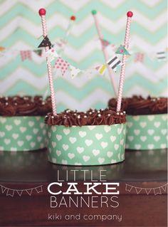 Little Cake Banners from @Kiki Comin {www.kikicomin.com} | Create tiny cake topper banner