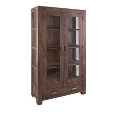 Apothecary Wood and Glass Armoire