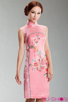 Pink silk with embroider cheongsam dress_Traditional qipao_Oriental styles_Custom-made Cheongsam,Qipao,Chinese clothes,chinese clothing,Chinese Dress,Wedding dress,Tailor-made