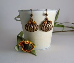 Pumpkin Patch Earrings with Czech crystal and by EchoEndeavor, $15.00