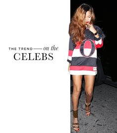 """Oh, Rihanna. Did it have to be the Sens of all teams? In Beverly Hills? That's it -- I'm boycotting all of her music that I never listened to before anyway. ------ """"An oversized Ottawa Senators Reebok Premier Hockey Jersey ($125) doubled as the perfect bold mini dress for the singer, seen here out in Beverly Hills a few months ago."""""""