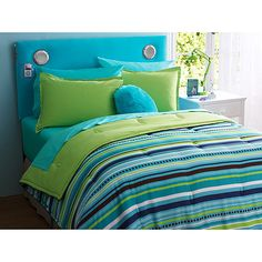 green blue and brown bedroom | your zone reversible comforter & sham set, teal/dotted stripe