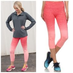 Coral Ombre Fade Workout Capri Legging Size Large Coral Ombre fade workout Capri legging, high waist that can be folded down, 63% Nylon 29% Polyester 8% Spandex.  Size Large.  No Trades, Price Firm unless Bundled.  BUNDLE 3 OR MORE ITEMS FOR 15 % OFF. Boutique Pants Leggings