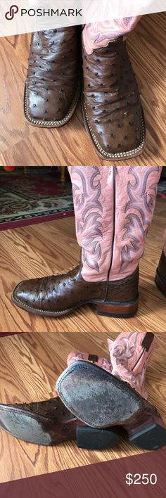 Justin Remuda full quill ostrich cowboy boots. Justin Remuda full quill ostrich boot. Style # L8506. Worn well...but in excellent condition. I have owned them for over 8 years and babied then! Comes with the conditioner I use on them. I hate to see them go but they just sit in my closet since they don't fit me anymore. Size 6 1/2 C. Justin Boots Shoes Heeled Boots