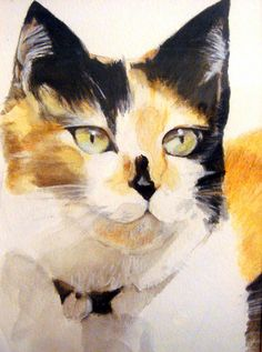 cat watercolor by VickiDianeDesigns