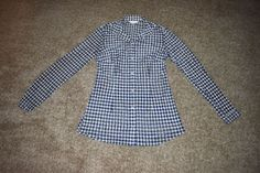 CAbi Mesh Stretch Knit Semi Sheer Blue Plaid Button Up Shirt Top Size Small S #CAbi #ButtonDownShirt #Career