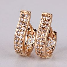 GDSHOP High quality Rose Gold Plated Hoop Earrings White Topaz Earing Unique Crystal Lady Jewellery Earring * See this great product. Gold Jhumka Earrings, Jewelry Design Earrings, Gold Earrings Designs, Diamond Hoop Earrings, Ear Jewelry, Fashion Earrings, Jewelry Sets, Jewelery, Silver Jewelry
