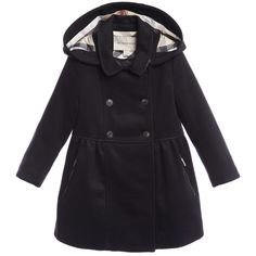 Burberry Girls Navy Blue Wool Coat with Check Hood at Childrensalon.com