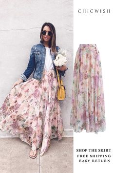 58 Ideas Sewing Skirts Long Chiffon Maxi For 2019 Denim Fashion, Skirt Fashion, Fashion Dresses, Chiffon Maxi, Maxis, Maxi Skirts, Estilo Jeans, Led Dress, Mode Chic