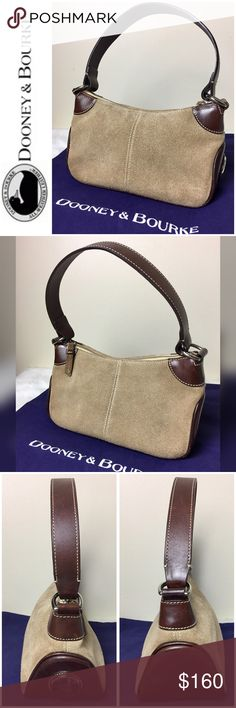 """Dooney & Bourke Signature Leather Handbag Dooney & Bourke Signature Leather Handbag in Beautiful Tan Suede Leather with Contrasting Smooth Brown Trim Leather, Zip Closure with Silver Tone Hardware, 1 Interior Side Zip Pocket and 1 Attached Leather Loop with Silver Tone Spring Loaded Hook for Keys, Approx. Size  6"""" x 9 1/2"""" x 4"""" with an 8"""" Drop Handle, Used in Excellent Condition Dooney & Bourke Bags Shoulder Bags"""