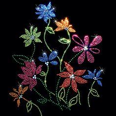 9x11  - COLORFUL FLOWERS - colorful flowers, Flowers, rhinestones, studs, Material Transfer