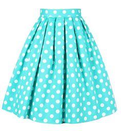 Vintage Summery Polka Dot Print High Waist A-Line Design Women's Dress Vintage Skirts | RoseGal.com Mobile