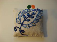Crewel Embroidery Sachet Pin Cushion  Flower by backgatecottage, $15.00