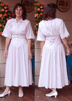 Vintage cotton 80s dress yoked bodice size 5/6 by YustaWas on Etsy, $28.00