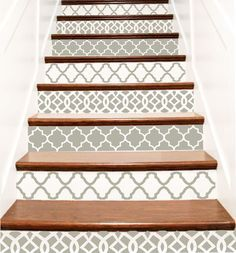 Decorative Vinyl Stair Tile Decals . Moroccan Trellis Decor Steps Riser Stickers . Your Choice of Color and Quantity