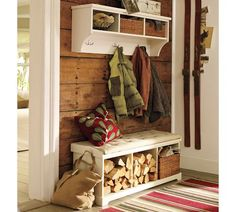 Love the use of firewood storage, in addition to the organization at our front door.