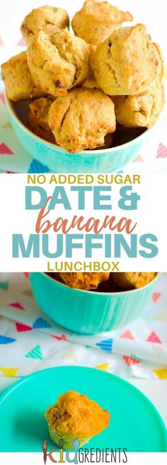 Date and banana muffins, no added sugar! Perfect for the lunchbox and ideal for an afternoon snack. Yummy and freezer friendly. Kid favourite! #kidsfood #lunchbox #familyfoods #norefinedsugar #baking