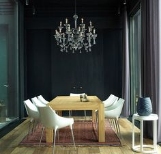 dramatic dining space