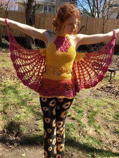 Flower of Life Tank Top Butterfly Wings Crochet by DarbyandCikity