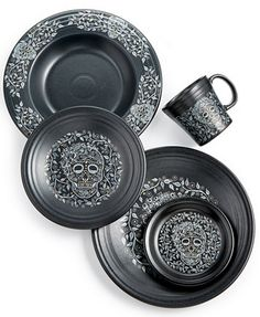 Fiesta Skull and Vine Dinnerware Collection - Dinnerware - Dining & Entertaining - Macy's - August 17 2019 at Gothic Kitchen, Kitchen Design, Kitchen Decor, Kitchen Caddy, Goth Home Decor, Gypsy Decor, Gothic House, Eat In Kitchen, Kitchen Things