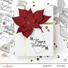 Holiday Cards, Christmas Cards, Winter Cards, Christmas Greetings, Christmas Ideas, Poinsettia Cards, Christmas Poinsettia, Flower Subscription, Scrapbook Paper Crafts