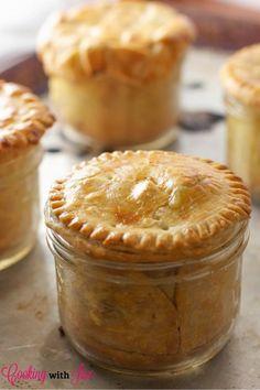 Chicken pie in Mason jars