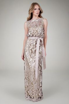 Paillette Embroidered Lace Blouson Gown in Ginseng - Evening Gowns - Evening Shop | Tadashi Shoji