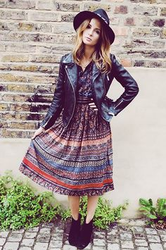 Pair festival maxis and midis with a leather jacket and boots for fall.