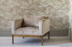 Wallpaper Edo is Stone & Bronze and chair is Kenwood in Parchment from GP & J Baker in the Langdale Wallpaper collection