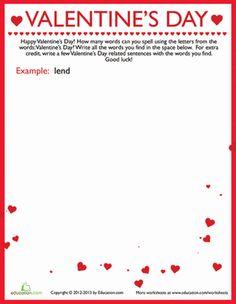 Valentine's Day Third Grade Vocabulary Spelling Worksheets: Valentine's Day Wordplay!