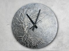 Large Wall Clock, Tree of Life Home Decor, Silver wall Clock,  Modern WALL CLOCK, Unique wall clock,  Tree of Life Painting - pinned by pin4etsy.com