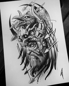 Rabe Krieger Skizze Tattoo - - Tattoo - - My best tattoo list Irezumi Tattoos, Marquesan Tattoos, Leg Tattoos, Irish Tattoos, Skull Tattoos, Hades Tattoo, Norse Tattoo, Tattoo Symbols, Zeus Tattoo