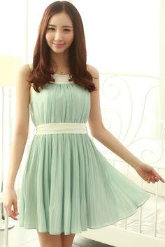 Contrast Pleated Chiffon Dress - OASAP.com