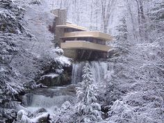 Fallingwater. Frank Lloyd Wright. 1936-1939, Bear Run, Pennsylvania. This is my favorite house of his.