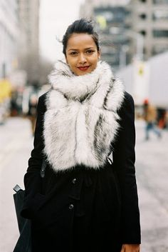 After A Show, NYC, February 2013. A statement scarf to keep you warm this winter. Recreate her look (kind...