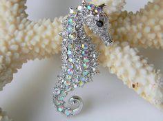 Swarovski Crystal Sea Horse Hair Clip
