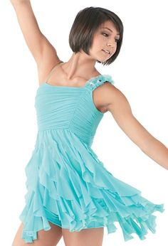 One Shoulder Cascade Ruffle Dress  For pricing please call or text Michele at 757-534-8311 or email us at thedancingfeetshop@gmail.com
