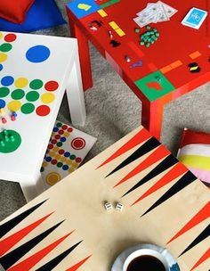 Love the idea of repurposing these cheap IKEA tables into game tables!