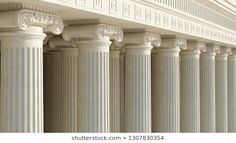 Colonnade with ionic columns. Pillars of government. Aesthetic Template, Ancient Greek, Columns, Temple, 3d Rendering, Public, Building, Lawyers, Politics