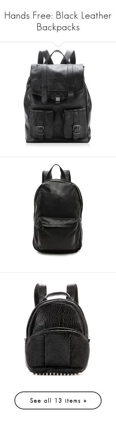 """""""Hands Free: Black Leather Backpacks"""" by polyvore-editorial ❤ liked on Polyvore featuring leatherbackpacks, Sacai Luck, Dr. Denim, Boutique, Alexander Wang, Ray-Ban, sets, bags, backpacks and accessories"""