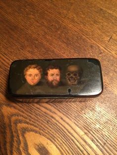 Antique-1880s-Lacquer-Snuff-Box-Victorian-Style-Faces-And-Skull-Motif