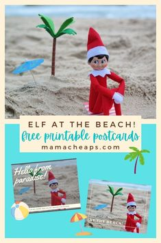 Who says elves don't need a vacation? We think elves work pretty hard during the holiday season, they most certainly deserve a little R&R at the beach from time to time! Check out our beachy elf post and grab our free printable postcards. Your elf can self your kids a fun beach themed postcard showing off some time in the summer sun! You get both postcards in one printable file. #elfontheshelf #christmas #mamacheaps #printable Printable Postcards, Need A Vacation, Shelf Ideas, Beach Fun, Summer Sun, Beach Themes, Elf On The Shelf, Elves, Christmas Holidays
