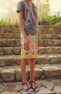 Яркая юбка из бабушкиных квадратов. Обсуждение на LiveInternet - Российский Сервис Онлайн-Дневников