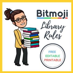 Bitmoji Library Rules, - Anna's Home School Library Lessons, School Library Displays, Library Lesson Plans, Middle School Libraries, Elementary School Library, Library Skills, School Library Themes, Elementary Library Decorations, Elementary Schools